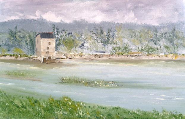 Moulin de Beauchet, Saint Père Marc en Poulet, peint sur le motif, acrylique