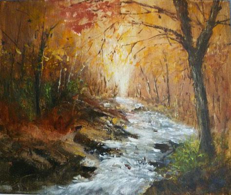 Sous_bois et rivière en automne, acrylique