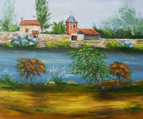Pontrieux, peint sur le motif, acrylique 46x38