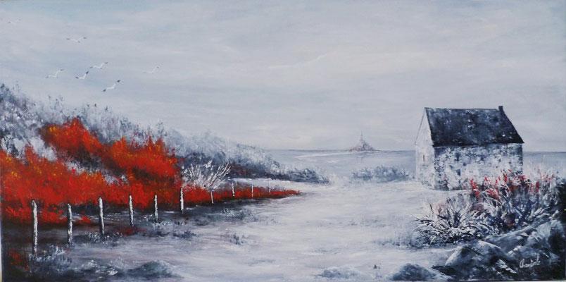 Cabane Vauban, acrylique sur toile  80x40