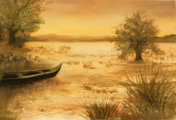 Aube sur le lac du Der, Haute Marne, pastel