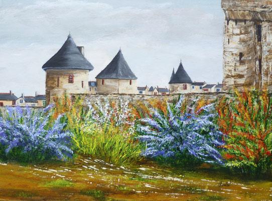Château de Fougères, print sur lr motif, acrylique  30x40