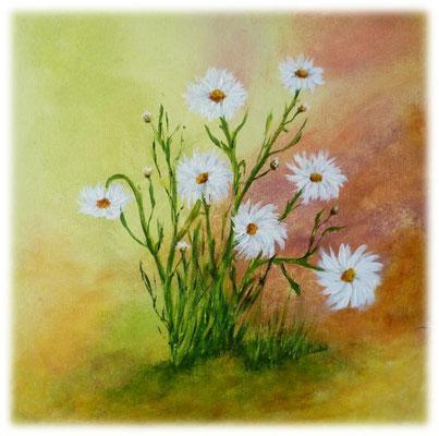 Marguerites, acrylique sur toile, 40x40