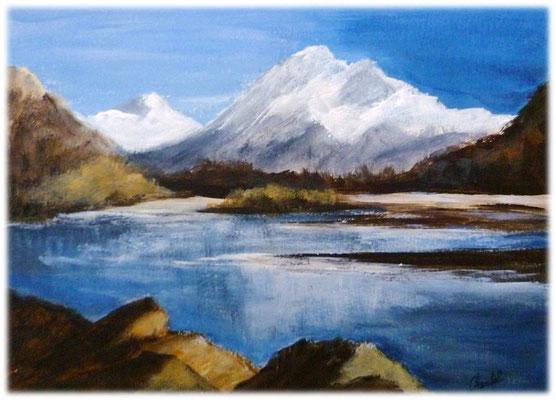 Montagne et lac, acrylique 2016 sur papier  27x19,5