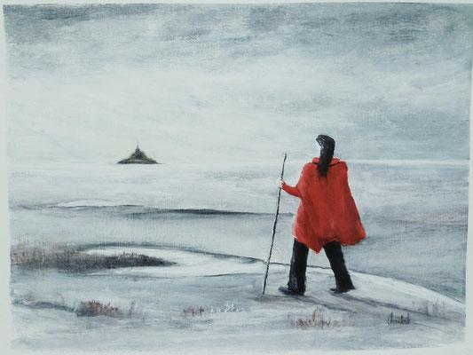 Marcheuse dans la Baie du Mont st Michel, acrylique sur papier