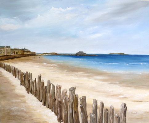 Saint Malo, d'après photo, huile  46x38
