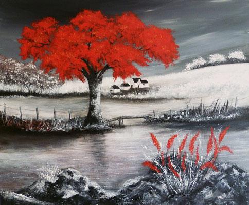 Paysage en rouge et noir, création imaginaire, acrylique  46x55