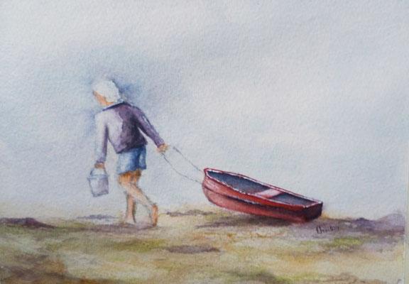 Retour de pêche, aquarelle sur papier coton 2018 (15x20)