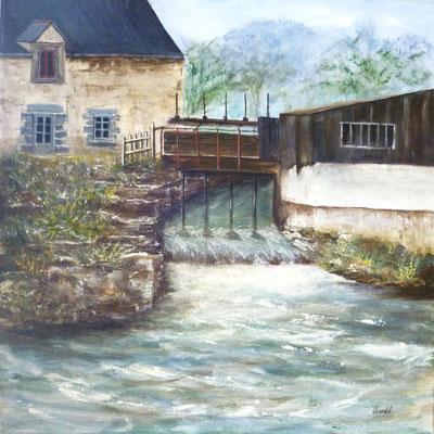 Le moulin de Guémain, Vieux-vy-sur Couesnon, peint sur le motif, acrylique  40x40