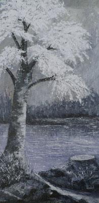 L'arbre coupé, acrylique sur toile février 2018