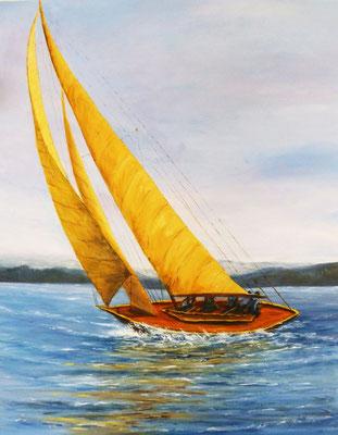 Le voilier, d'après photo, acrylique  92x73