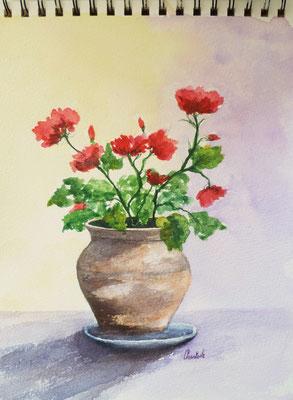 Pot de fleurs, aquarelle