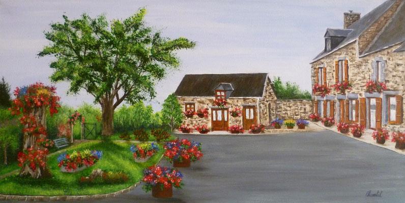 Maison fleurie en Normandie, acrylique