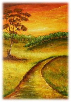 Le chemin, acrylique sur toile, 33x24