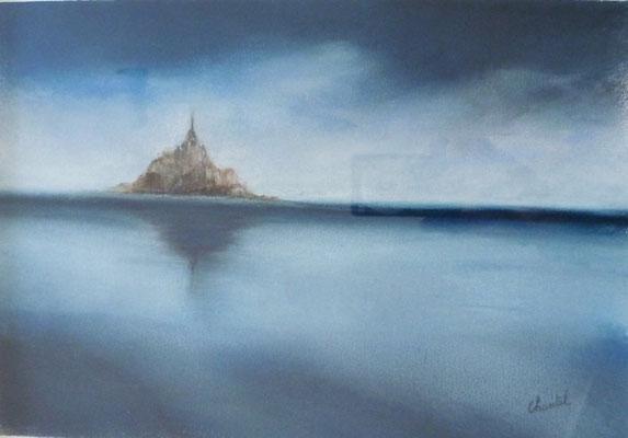 Mont st Michel, pastel, création imaginaire
