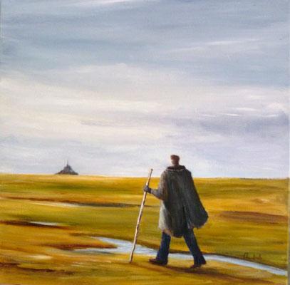 Marcheur dans la Baie du Mont st Michel, acrylique 05/2016 (40x40)