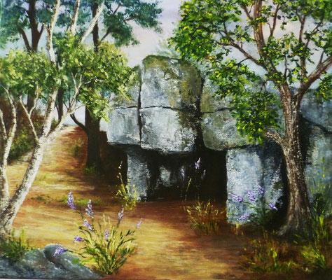 La pierre qui fume, le Chatelier, acrylique sur toile  (55x46)