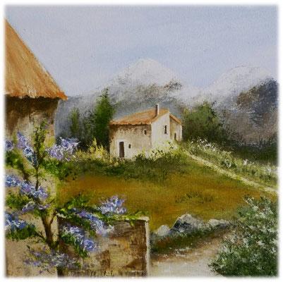 Paysage de Provence, acrylique sur toile 20x20