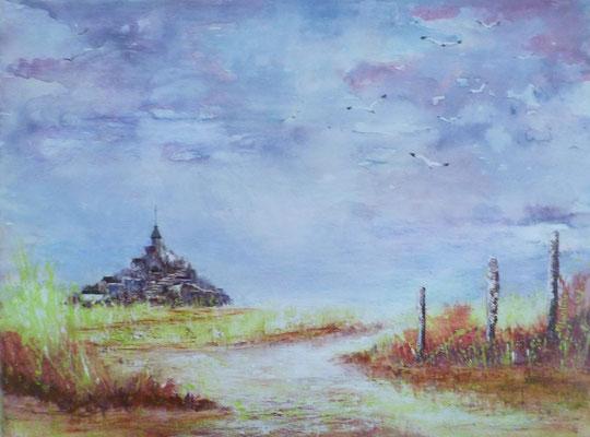 Mont st Michel, acrylique sur toile 2018 (30x40)