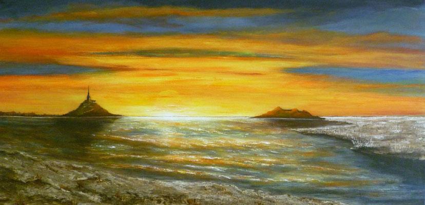 Coucher de soleil dans la baie du Mont st Michel, création imaginaire, acrylique  80x40