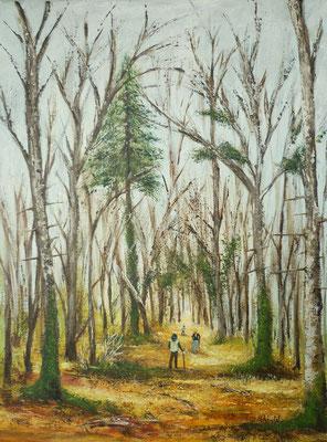 Surprise dans le bois de Bannière, Saint Ouen la Rouërie, peint sur le motif, acrylique  30x40