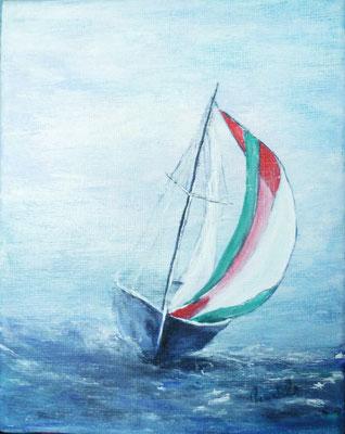 Le petit voilier, acrylique sur toile 20x15