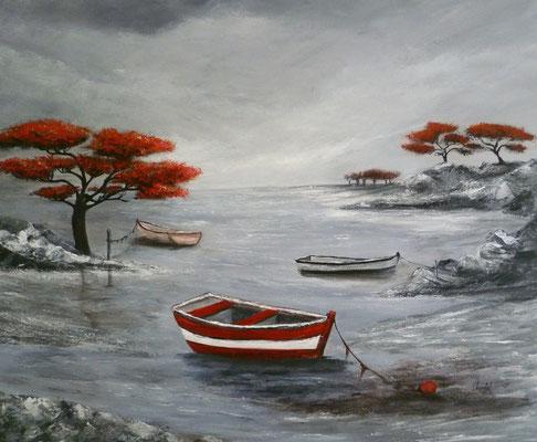 Marine en rouge et noir, création imaginaire, acrylique  46x38