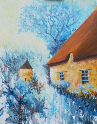 Acrylique sur toile, peint sur le motif, Couleurs de Bretagne, Combourg