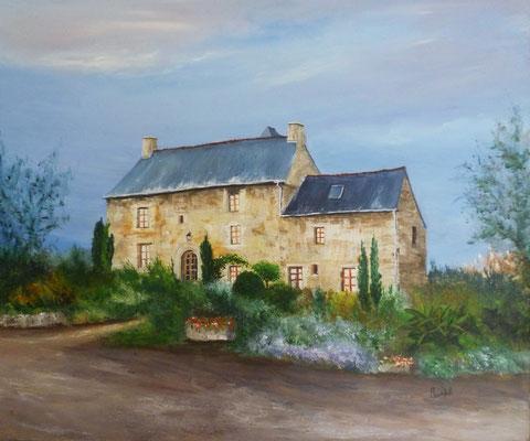 Manoir de la branche, côté sud, St Brice en Cogles, acrylique sur toile  (55x46)