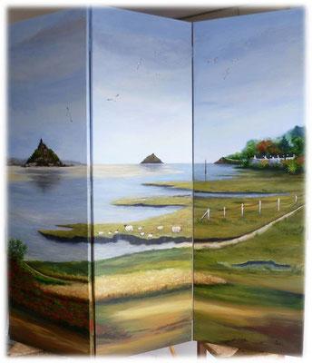 Paravent, Baie du Mt st Michel, acrylique, (3 panneaux de 1.48x0.50 )