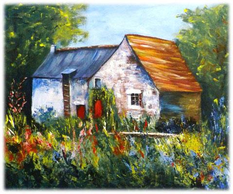 Maison Ribert, Montreuil sous pérouse, acrylique sur toile, 46x38