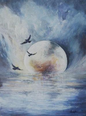 Les trois oiseaux, acrylique sur toile