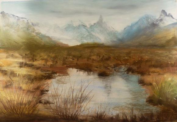 Montagne en automne, pastel