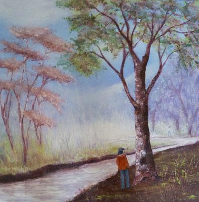 Dre l'aute côté de la rivière,  acrylique sur toile 2018 (50x50)
