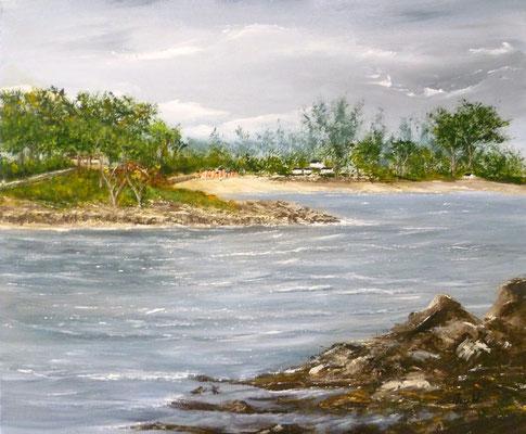L'île aux moines, Baden, peint sur le motif, acrylique 46x38