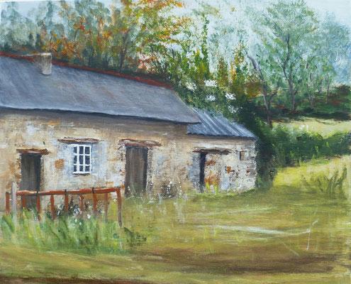 Vieille maison à la Chapelle st Aubert, acrylique sur toile, peinte sur le motif