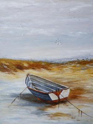 La barque, acrylique  30x40
