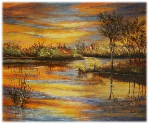 Coucher de soleil sur le marais, acrylique 2016 sur toile, 55x46