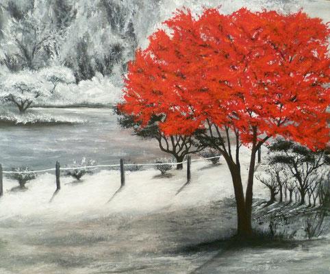 L'arbre rouge, création imaginaire, acrylique  46x38