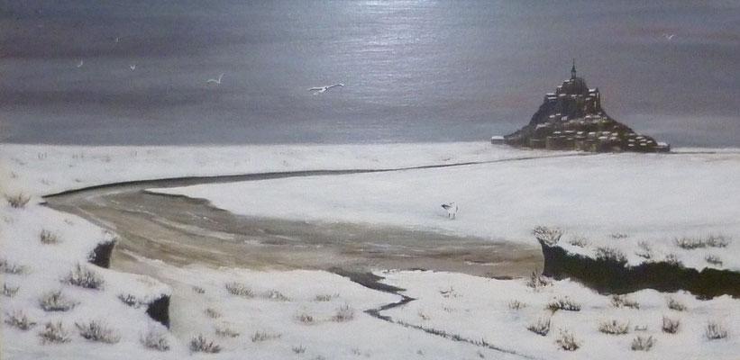 Neige en Baie du Mont st Michel, d'après photo, acrylique  80x40