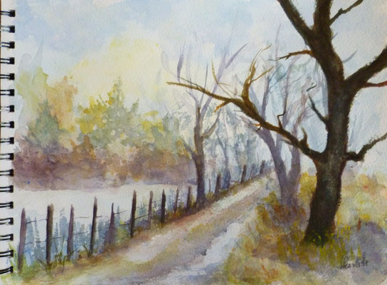 Le chemin, aquarelle
