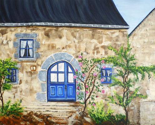8 rue de l'Abaye à Moncontour, peint sur le motif, acrylique  33x41