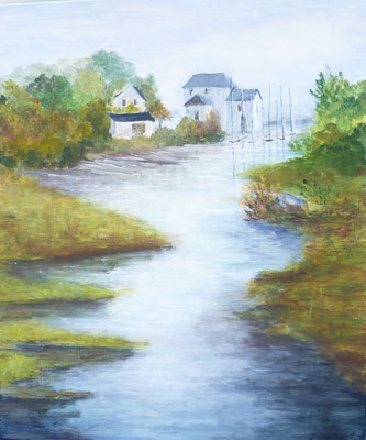 Vue sur le Port, Plouër sur Rance, acrylique peinte sur le motif