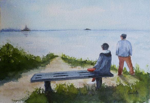 Aquarelle sur pier ( format carte postale)