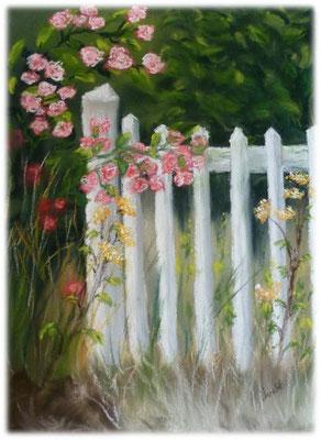 Le portail blanc, pastel, d'après photo