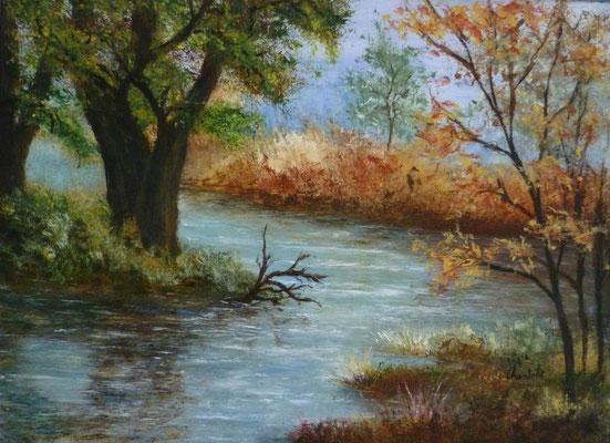 Rivière d'automne, acrylique sur carton <33x24>
