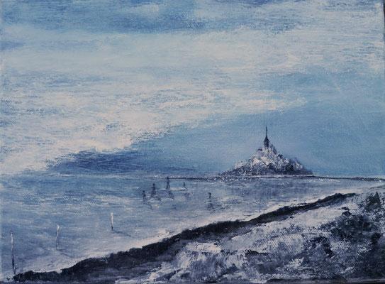 Mont st Michel, acrylique sur toile 20x20