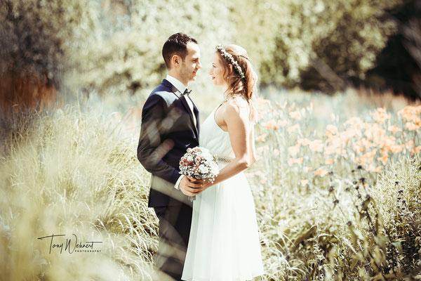Hochzeitsshooting am großen Tag im Grünen