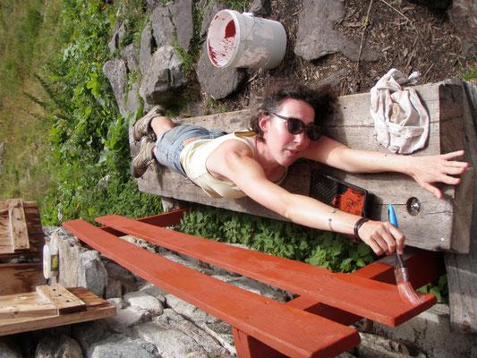 Anne-Claire à la peinture accrobatique