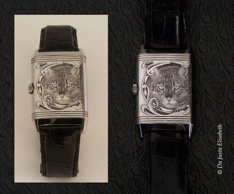 Gravure sur le thème du chat sur montre jaeger lecoultre reverso
